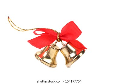 Christmas Bells and bow on a white background