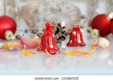 Christmas bells and pine cones