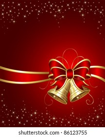 Christmas bells with ribbon on red background, illustration