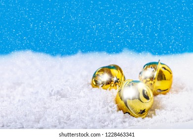 Christmas bells in the snow, festive background