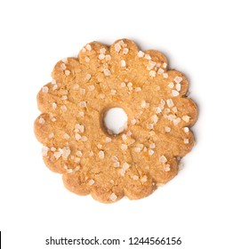 Christmas biscuits with sugar crystals isolated on white background. Top view.