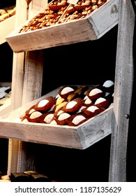 Christmas biscuits in a wooden boxes stacked on a market