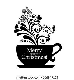 Christmas black cup with floral design elements. Menu for restaurant, cafe, bar, tea-house.  Illustration