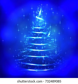 Christmas blue background with christmas tree.