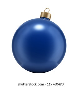 Christmas blue ball isolated on white