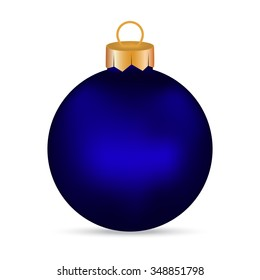 Christmas blue Christmas ball on a white background
