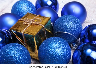 Christmas blue balls isolated on silver background