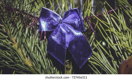Christmas blue band decoration on Christmas tree, New Year decoration