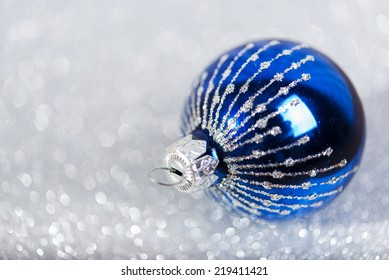 Christmas blue decoration on abstract white background