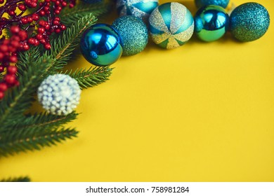 Christmas blue decoration with christmas tree