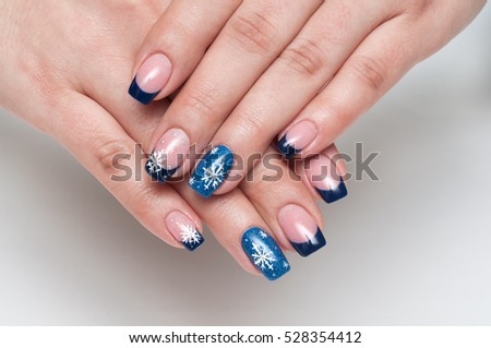 Christmas Blue French Manicure White Snowflakes Stock Photo Edit