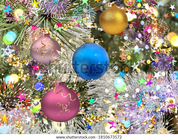 Christmas  blue gold lilac  ball on green tree and  colorful confetti illumination blurred light holiday background greetings card