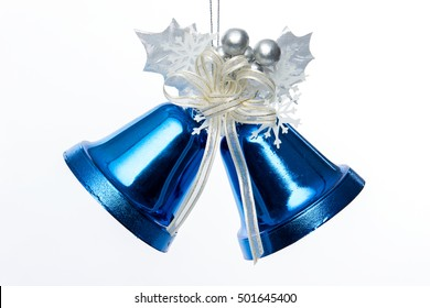The Christmas blue hanging decoration bell toy isolated on white background.