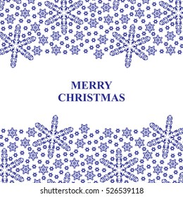 Christmas blue snowflakes card with on white background