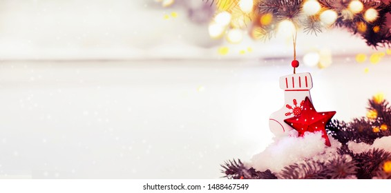 christmas blure background with christmas tree