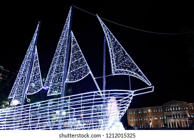 A Christmas Boat stands at central Syntagma square in Athens, Greece on Jan. 1, 2015