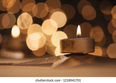 Christmas Bokeh Lights, Tea Light, Golden Tones