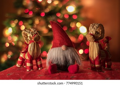 A Christmas bokeh with Santa Claus and two ibex to celebrate Merry Christmas