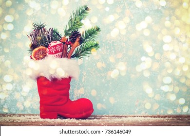 christmas boot stocking with gifts