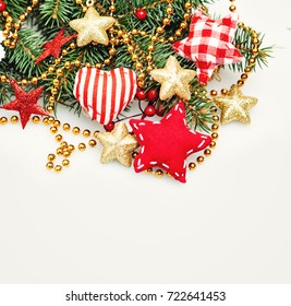 Christmas Border Background with Decoration, Xmas Tree Twig, Golden Garland and  and Red Star. Abstract Border for Xmas Card