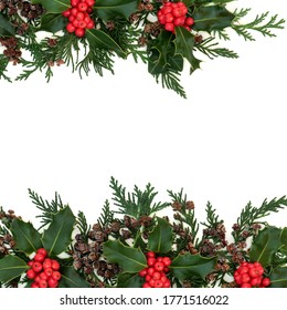 christmas; border; background; green; holly; red; winter; fir; decoration;leaves, natural; cedar; cypress; traditional;berry, frame; minimal; leylandii; greenery; nature; flora; decorative; pine cone;