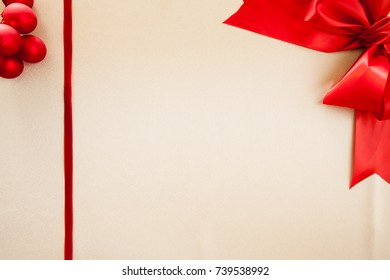 Christmas border Background Silk bow red velvet ribbon with copy space