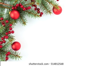 Christmas border: branches of fir tree with decoration