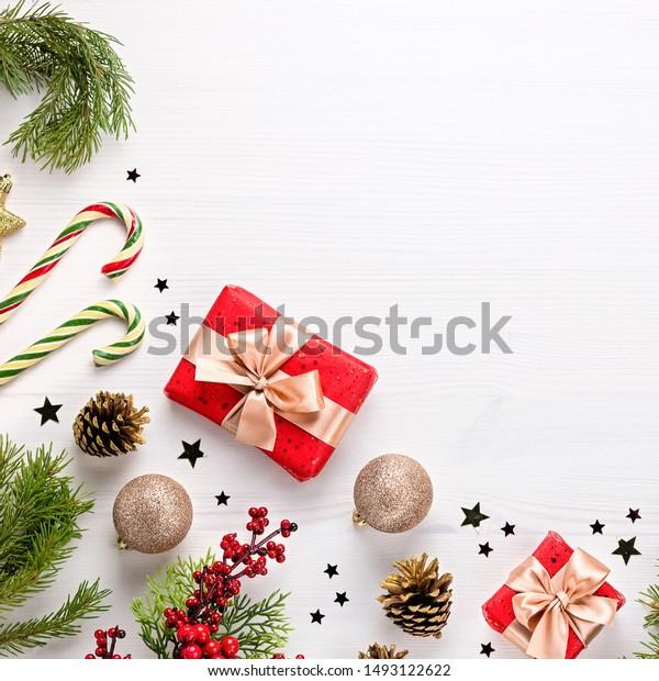 Photo De Stock De La Bordure De Noël Plate était Modifier