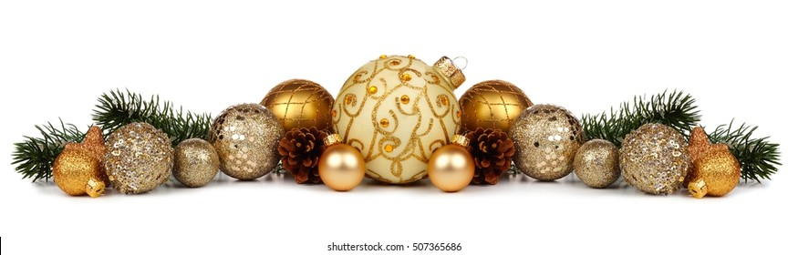 Christmas border of gold ornaments and branches isolated on a white background