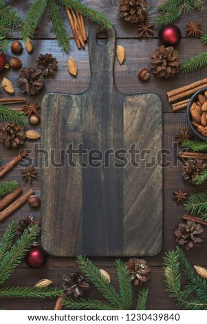 christmas border with ingredient for cooking holiday food with copy space on cutting board new