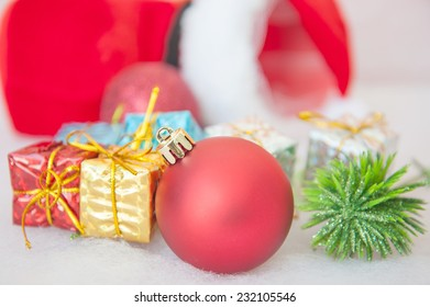 Christmas border with red bauble, golden