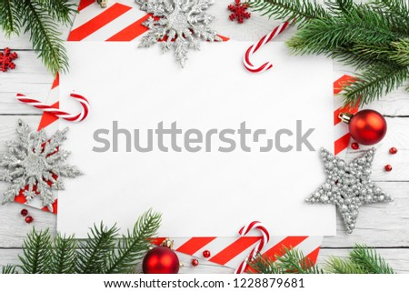 christmas border tree branches with balls candy and star new year background
