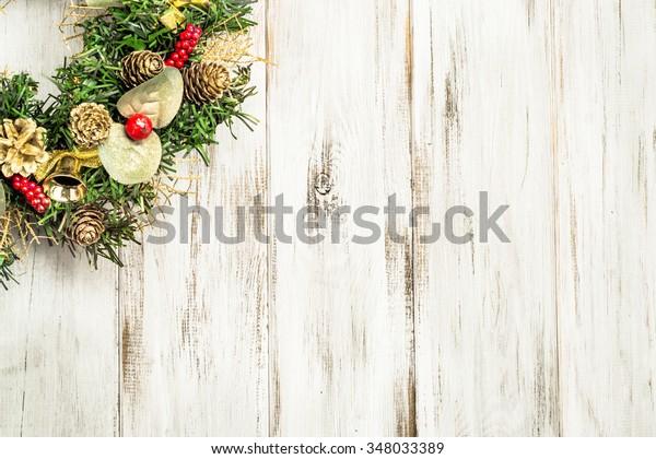 Christmas border from christmas wreath useful as christmas decoration.