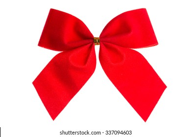 Christmas bow red color isolated on white background