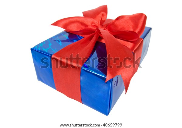 Christmas Box Blue Film Wrap Red Stock Photo (Edit Now) 40659799