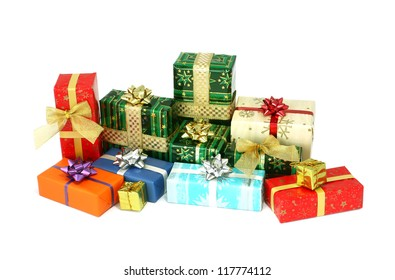 Christmas box gifts isolated on white background