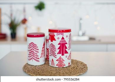 Christmas box on a kitchen