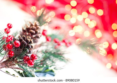 Christmas branch decoration close up