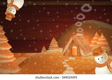 Christmas bread house with festive decoration Snowman hanging head in winter