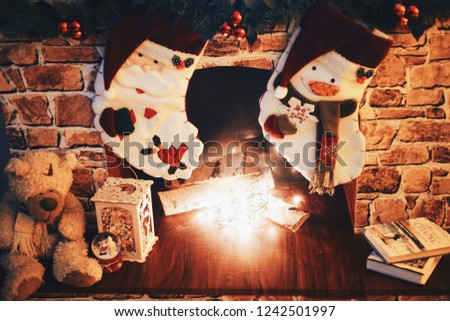 Christmas Brick Fireplace Family Hanging Two Stock Photo Edit Now