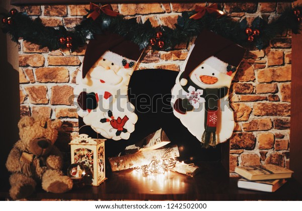 Christmas Brick Fireplace Family Hanging Two Stock Photo