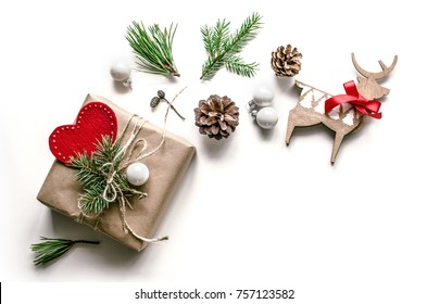 Christmas bright composition. Gift wrapping option. Christmas background for presentation of work or text. Copy space. Top view