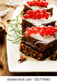 Christmas brownies with whipped sweet sour cream. Shallow dof.