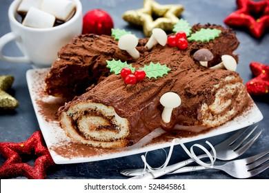 Christmas Buche de Noel - homemade chocolate yule log cake , Christmas and New Year holiday traditional recipe