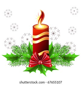 Christmas burning candle with bow and fur tree. Raster version of vector.