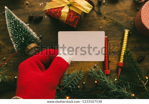 Christmas Business Decorations.Christmas Business Card Mock Held By Stock Photo Edit Now
