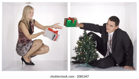 christmas businesspeople in the white cubes