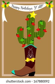 Christmas Cactus in Cowboy Boot