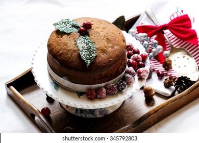 Christmas cake / Christmas fruit cake, selective focus