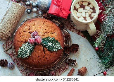 Christmas cake with holiday background